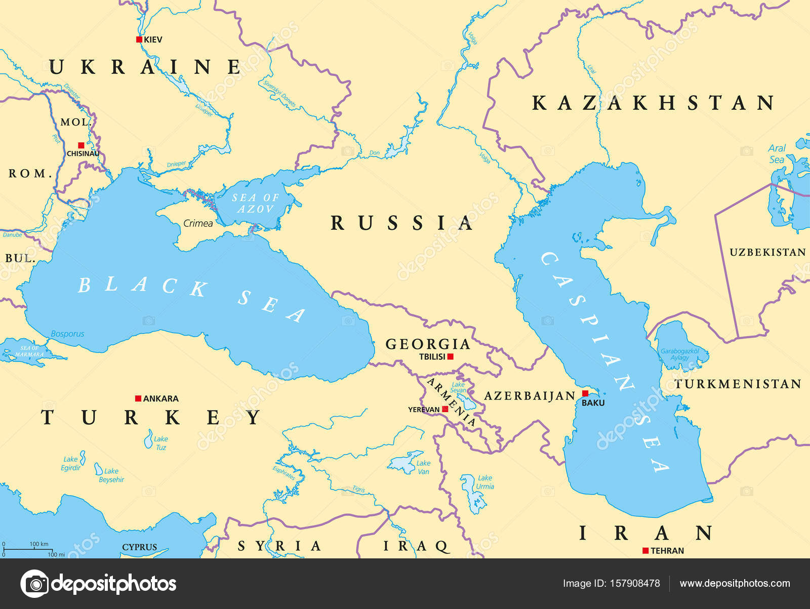 Black Sea And Caspian Sea Map Black Sea And Caspian Sea Region