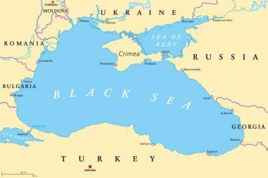 Black Sea and Sea of Azov region political map