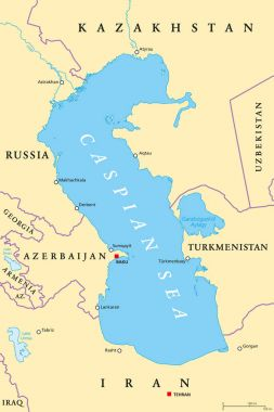 Caspian Sea region political map