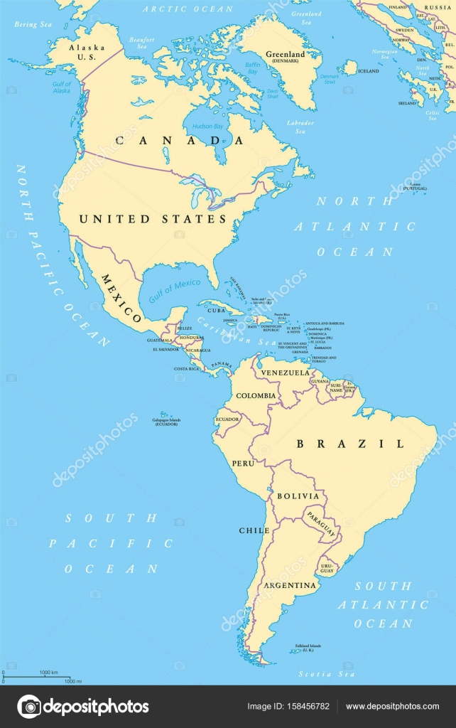 The Americas North And South America Political Map Stock