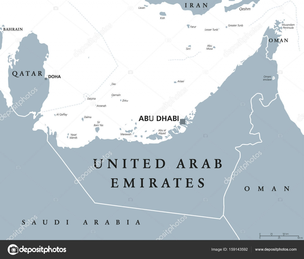 United Arab Emirates political map Stock Vector Furian 159143592