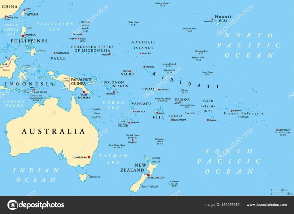 Oceania Political Map Stock Vector C Furian 159256372