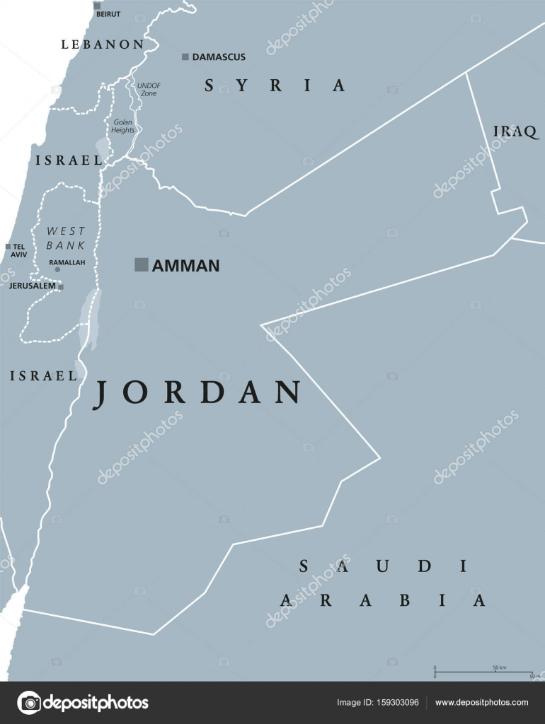 Jordan Political Map Stock Vector Furian - Jordan map download