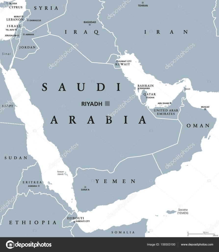 Asia Occidentale Cartina Politica.Vettore Penisola Arabica Politica Mappa Politica Dell