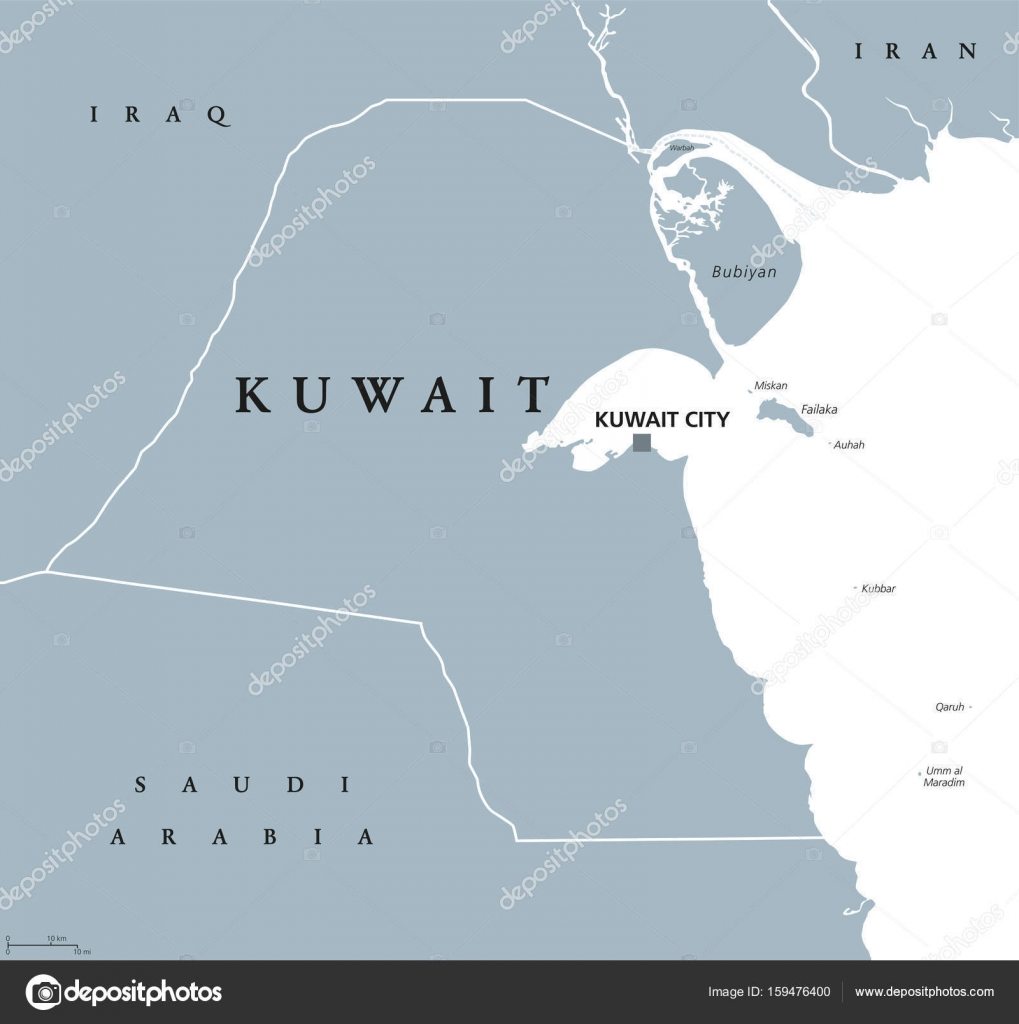 Kuwait political map stock vector furian 159476400 kuwait political map with capital kuwait city state and arab country in the middle east at the tip of the persian gulf gray illustration isolated on gumiabroncs Gallery