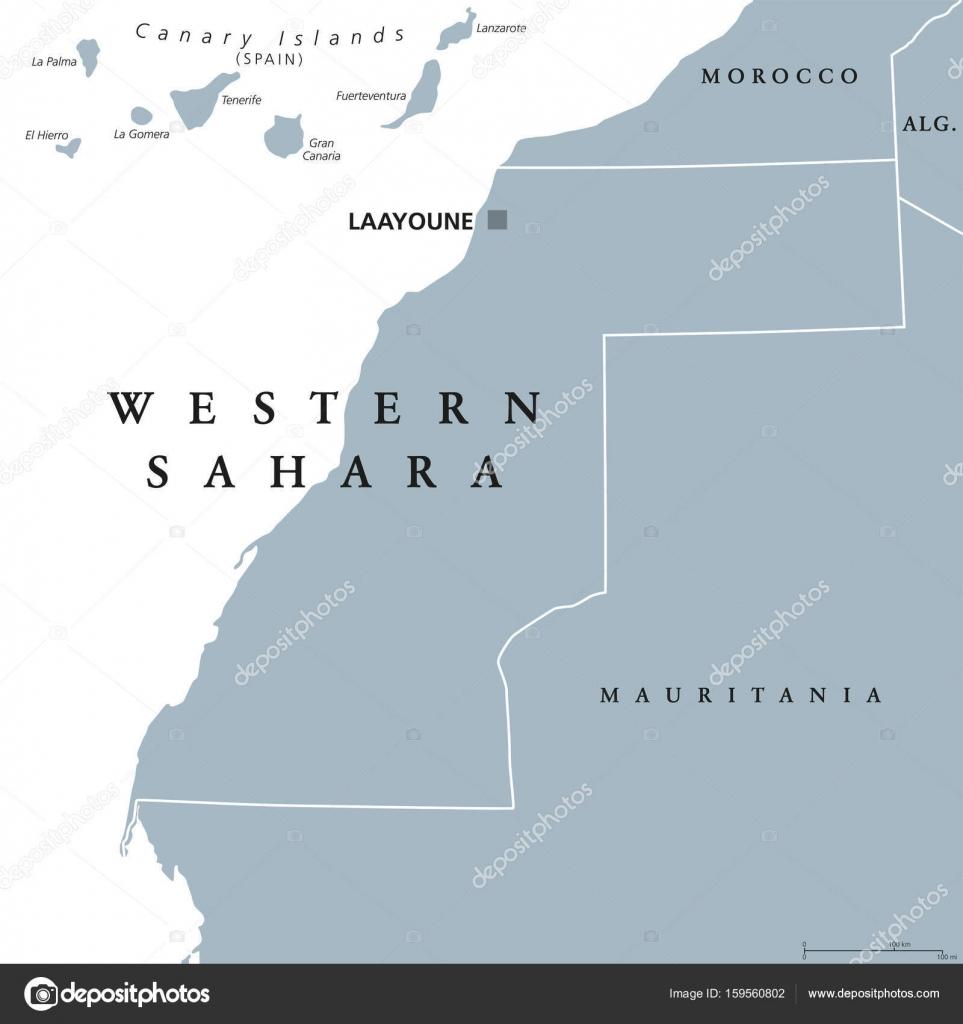 Western Sahara political map Stock Vector Furian 159560802