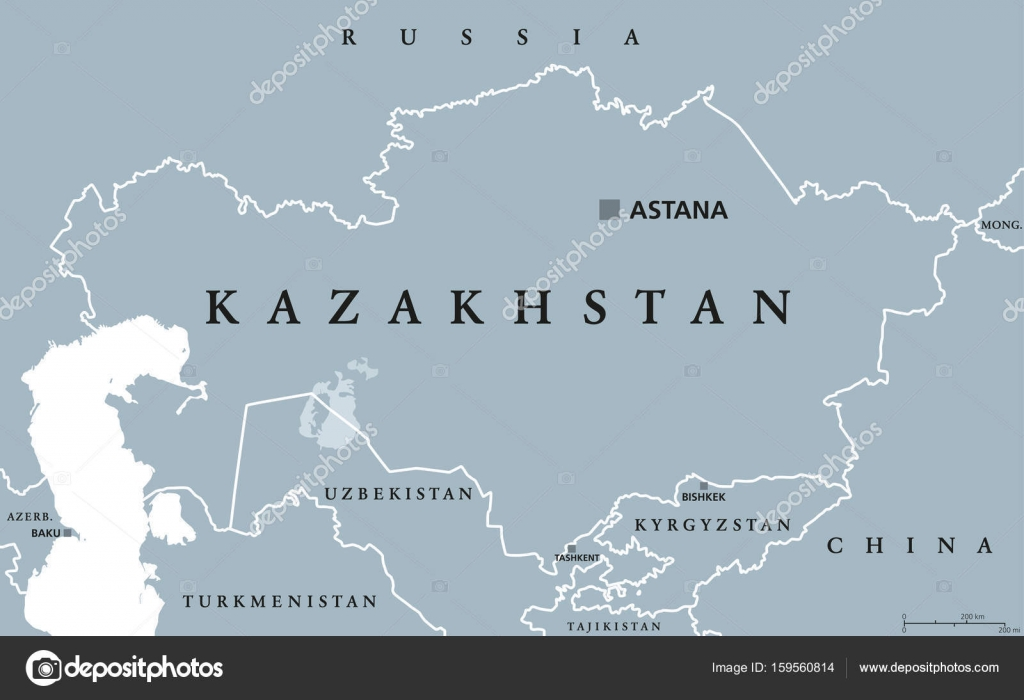Kazakhstan political map Stock Vector Furian 159560814
