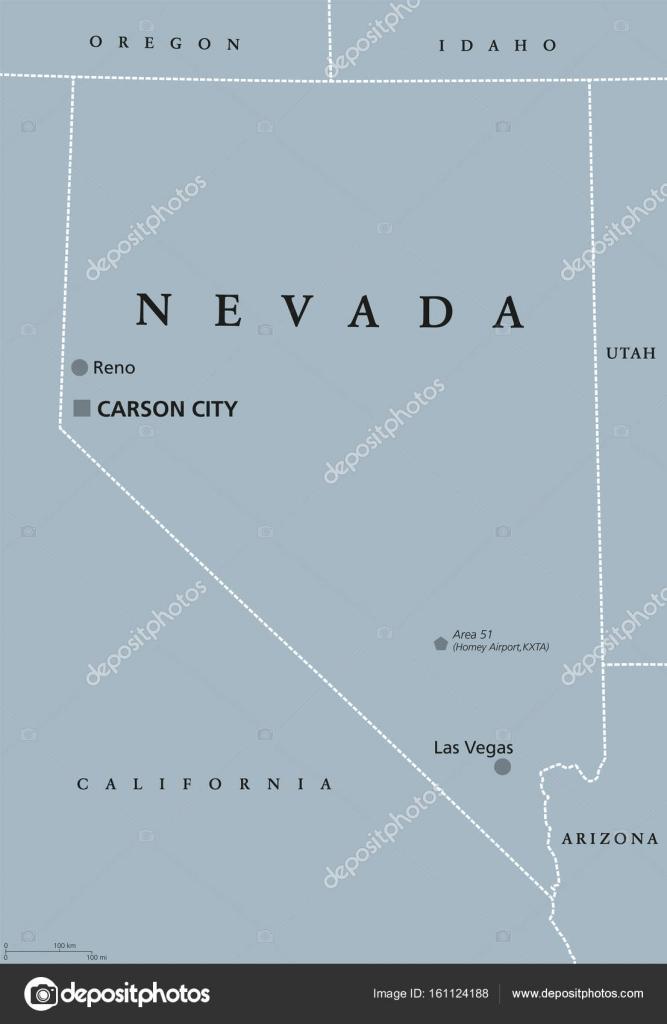 Las Vegas Karte Amerika.Politische Karte Von Nevada Vereinigten Staaten Von Amerika