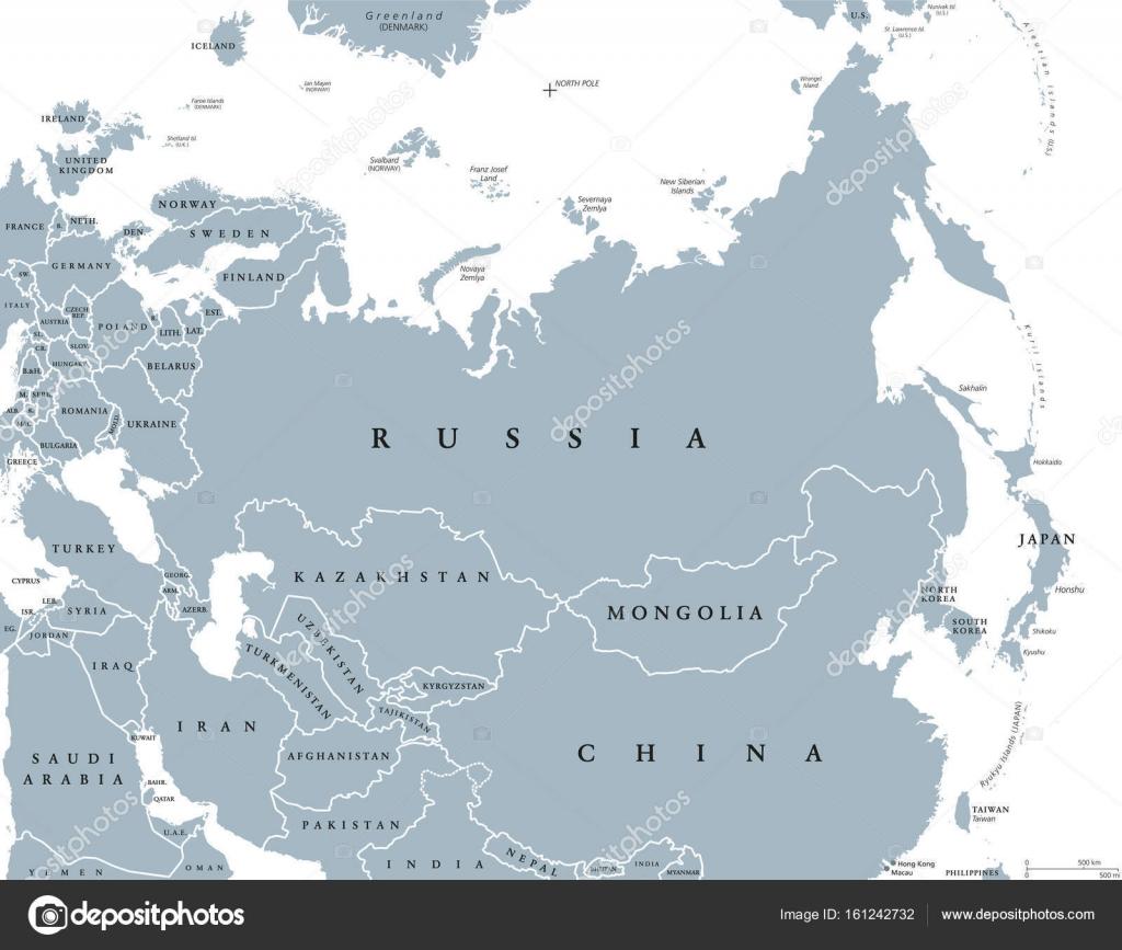 Europa E Asia Cartina.Vettore Carta Eurasia Mappa Politica Di Eurasia Con Paesi