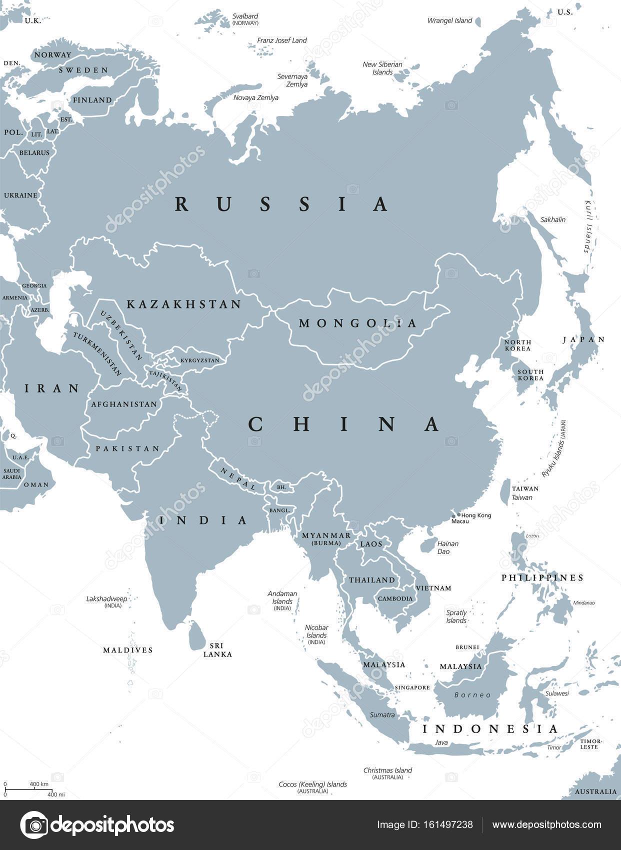 Asia Political Map Stock Vector Furian - Asia political map