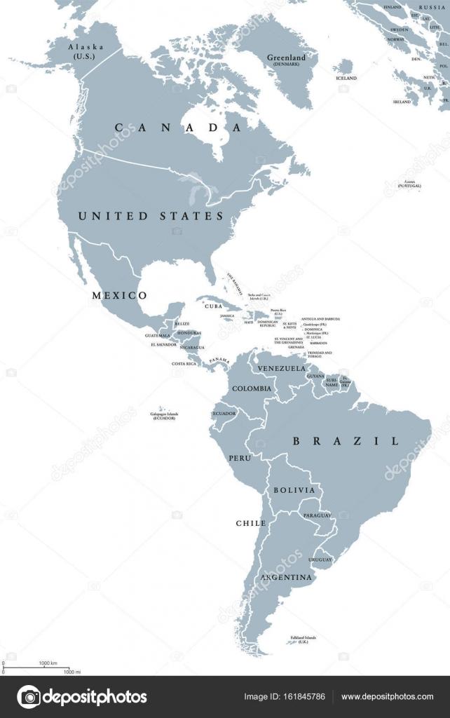 The Americas political map Stock Vector Furian 161845786