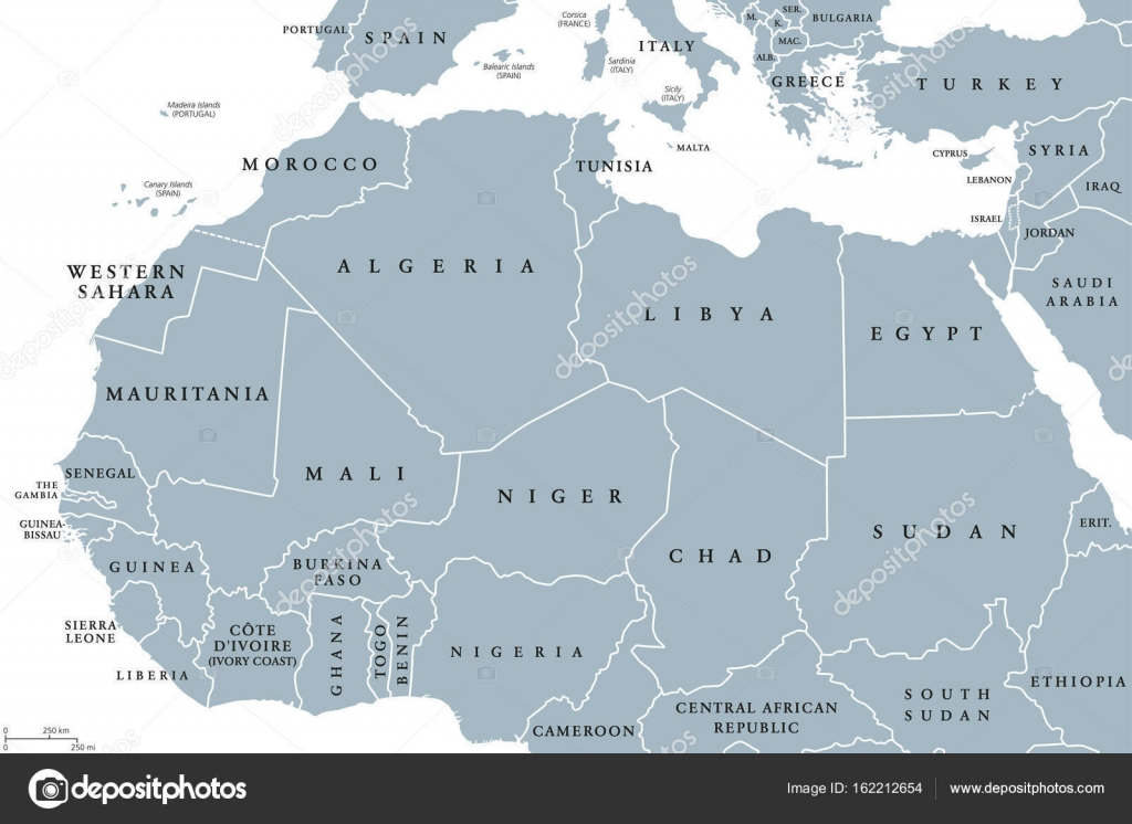 North Africa Countries Political Map Stock Vector Furian - North african countries