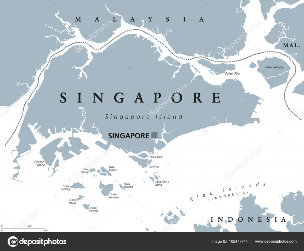 Singapore Political Map Stock Vector C Furian 162477744