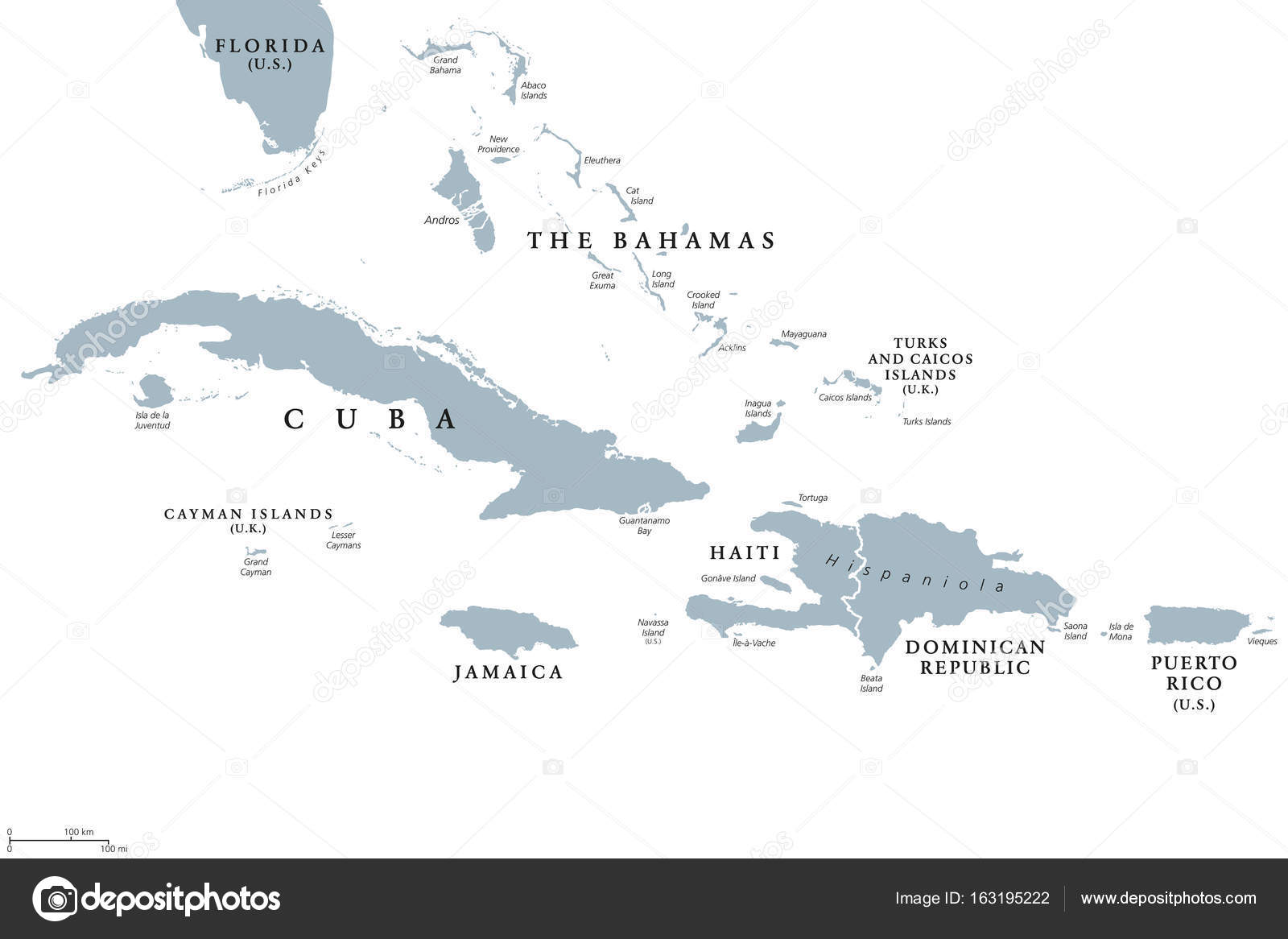 Greater Antilles political map Stock Vector Furian 163195222