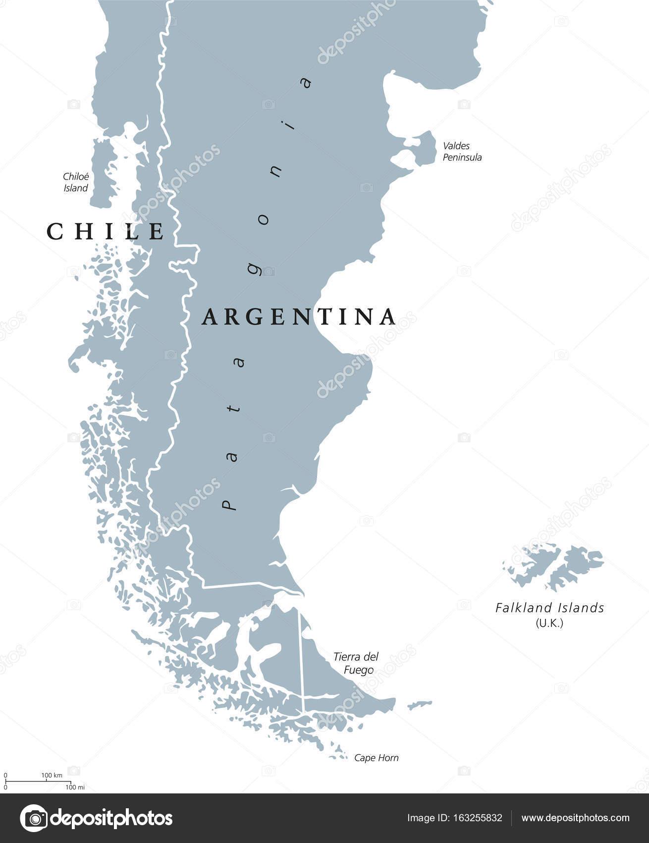 Patagonien och Falklandsöarna politiska karta — Stock Vektor