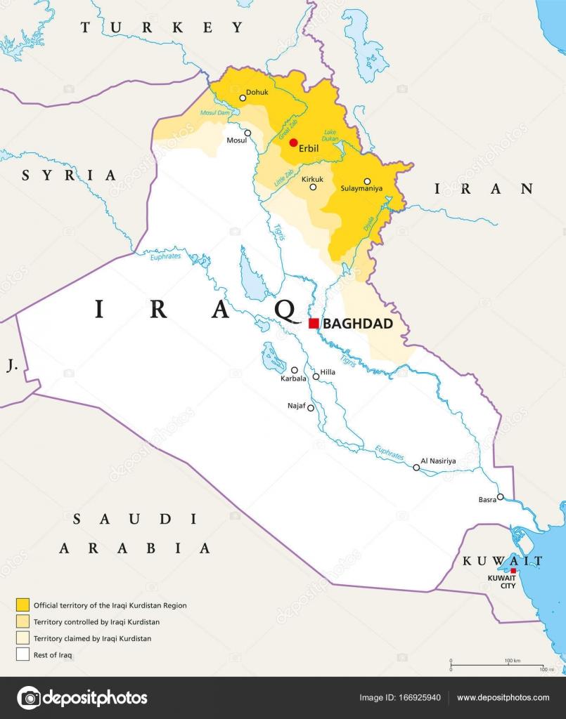 Cartina Kurdistan.Iraqi Kurdistan Region Political Map Vector Image By C Furian Vector Stock 166925940
