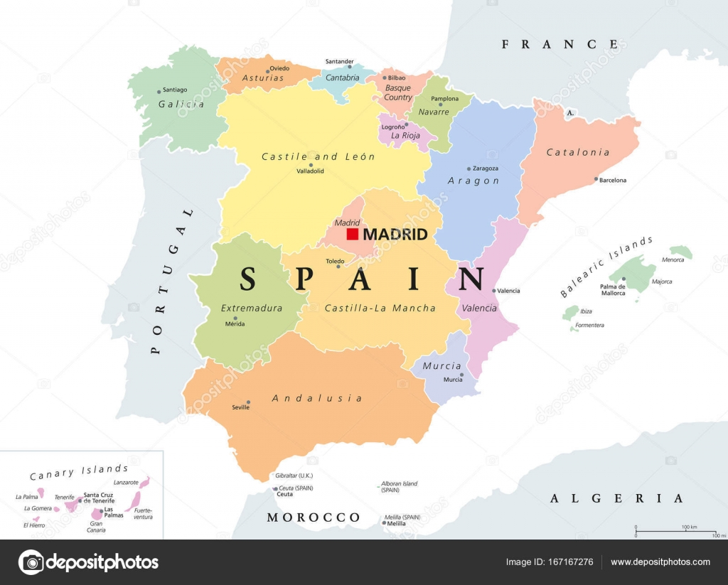 Autonomous communities of Spain political map Stock Vector