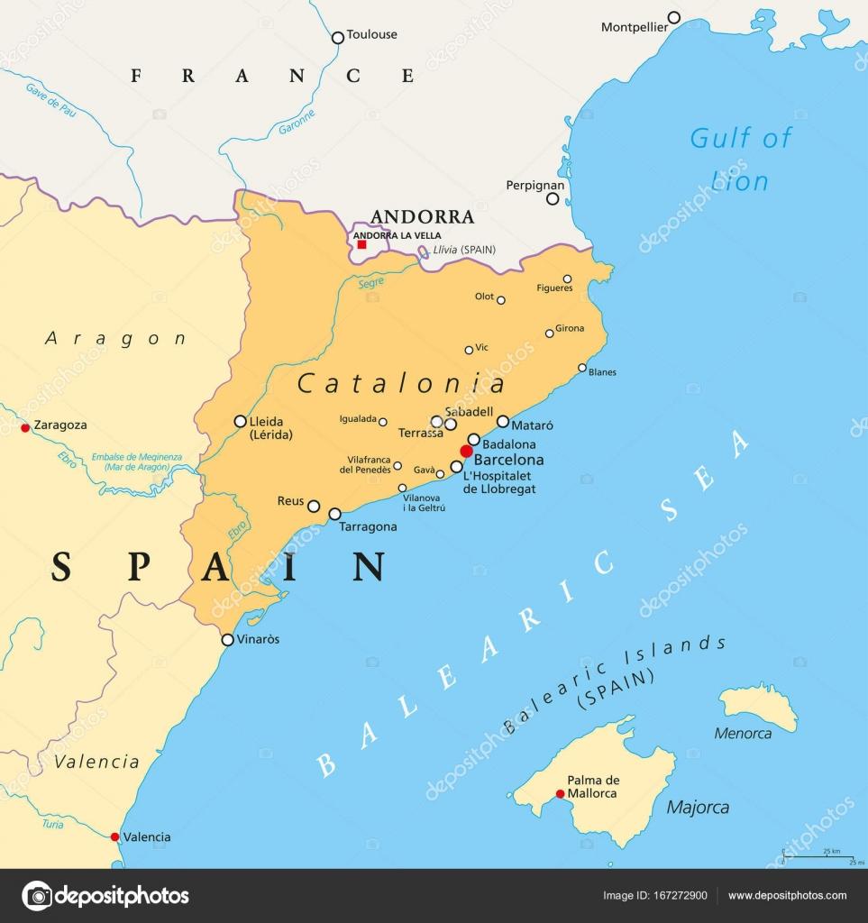 Carte Espagne Nord Est.Communaute Autonome De Catalogne D Espagne Carte Politique Image