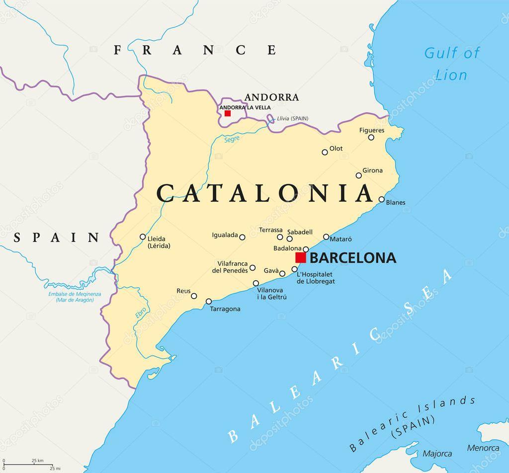 Karta Nordostra Spanien.Oberoende Katalonien Politiska Karta Stock Vektor C Furian 168917574