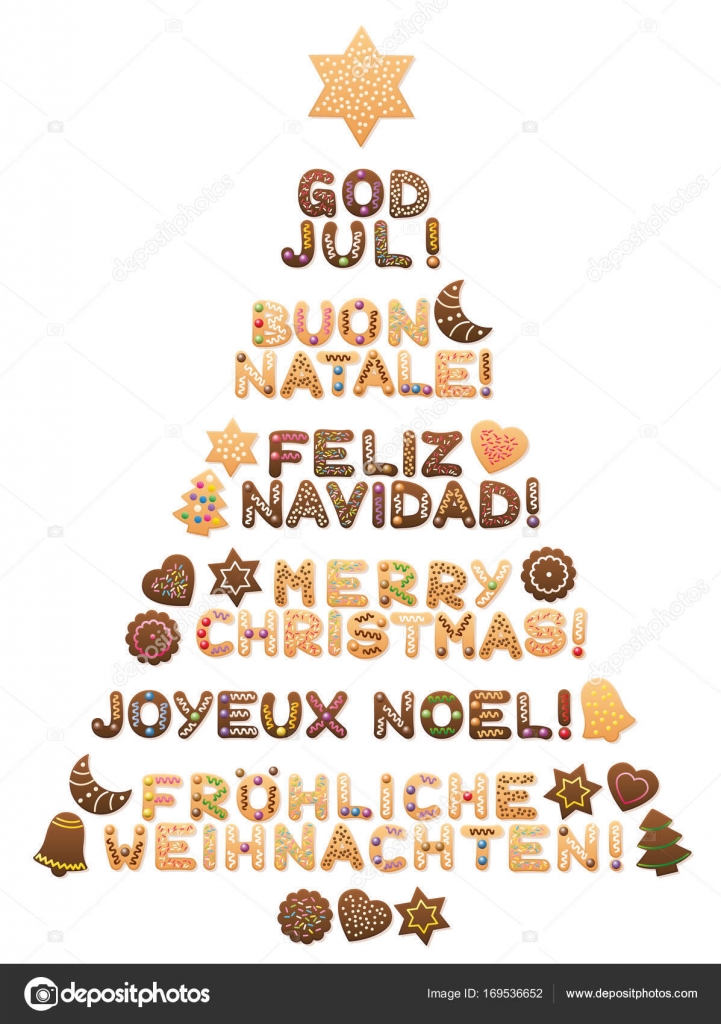 It Christmas Merr Christmas.Merry Christmas Tree Different Languages Stock Vector