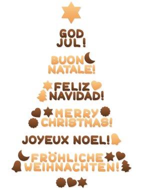 Merry Christmas Worldwide Christmas Tree Cookies
