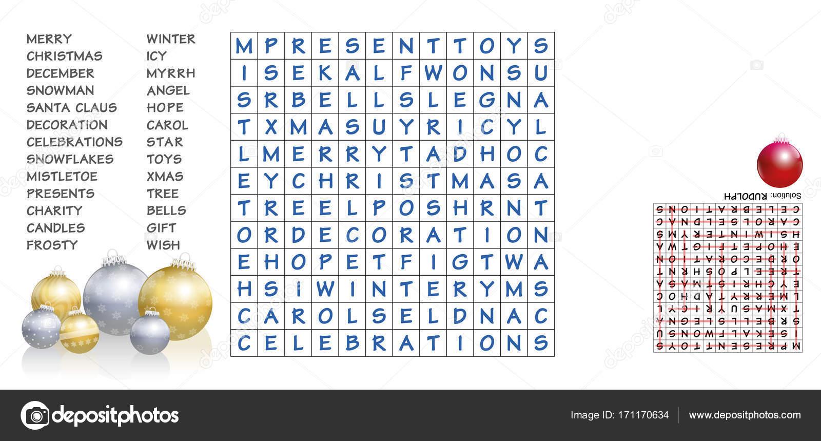 Weihnachten Wörter.Weihnachten Wörter Finden Puzzle Stockvektor Furian 171170634