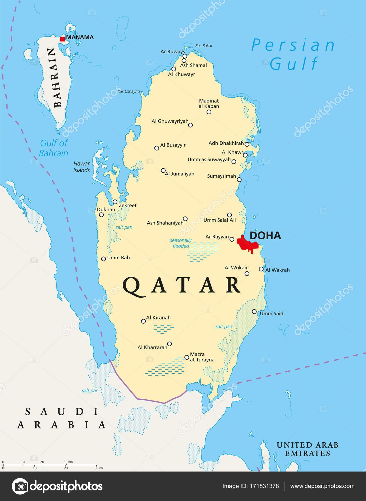Doha Karte Welt.Politische Karte Von Katar Stockvektor C Furian 171831378