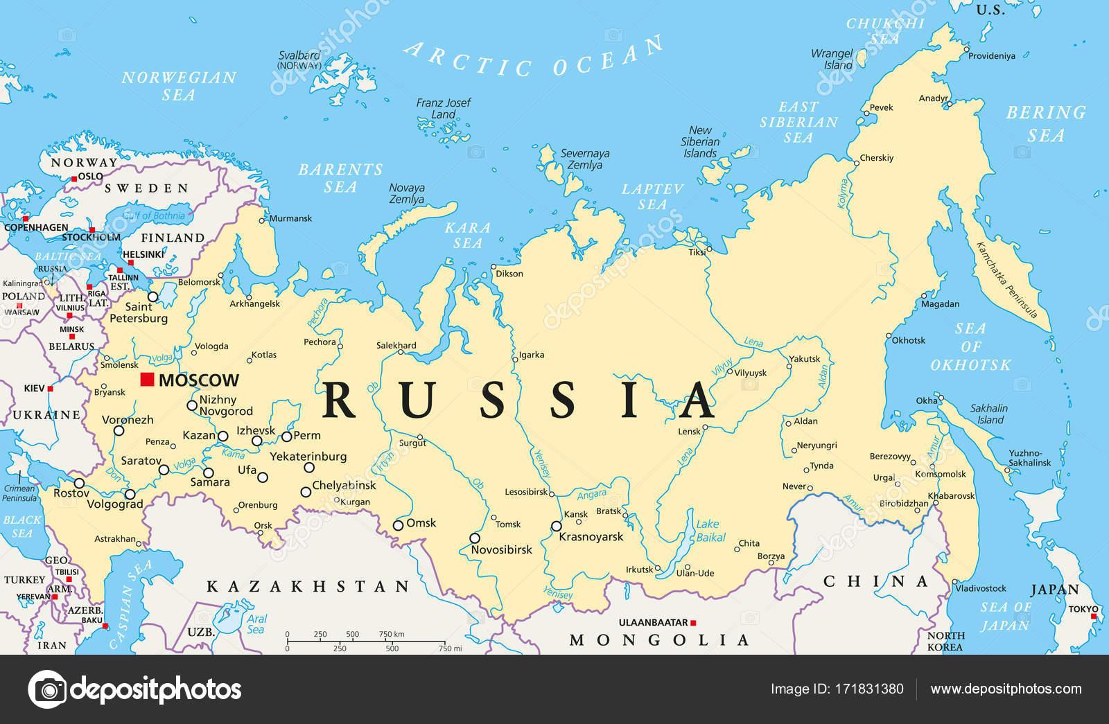 Cartina Russia Con Confini.Rivers Map Of Russia Russia Political Map Stock Vector C Furian 171831380