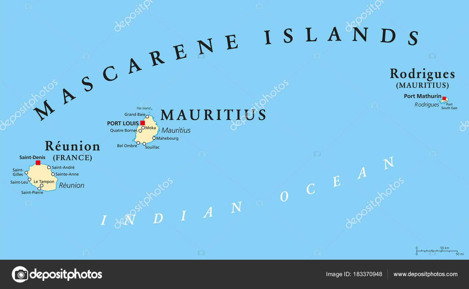 Carte Reunion Maurice.Carte Politique De Mascareignes Ile Maurice Reunion Et