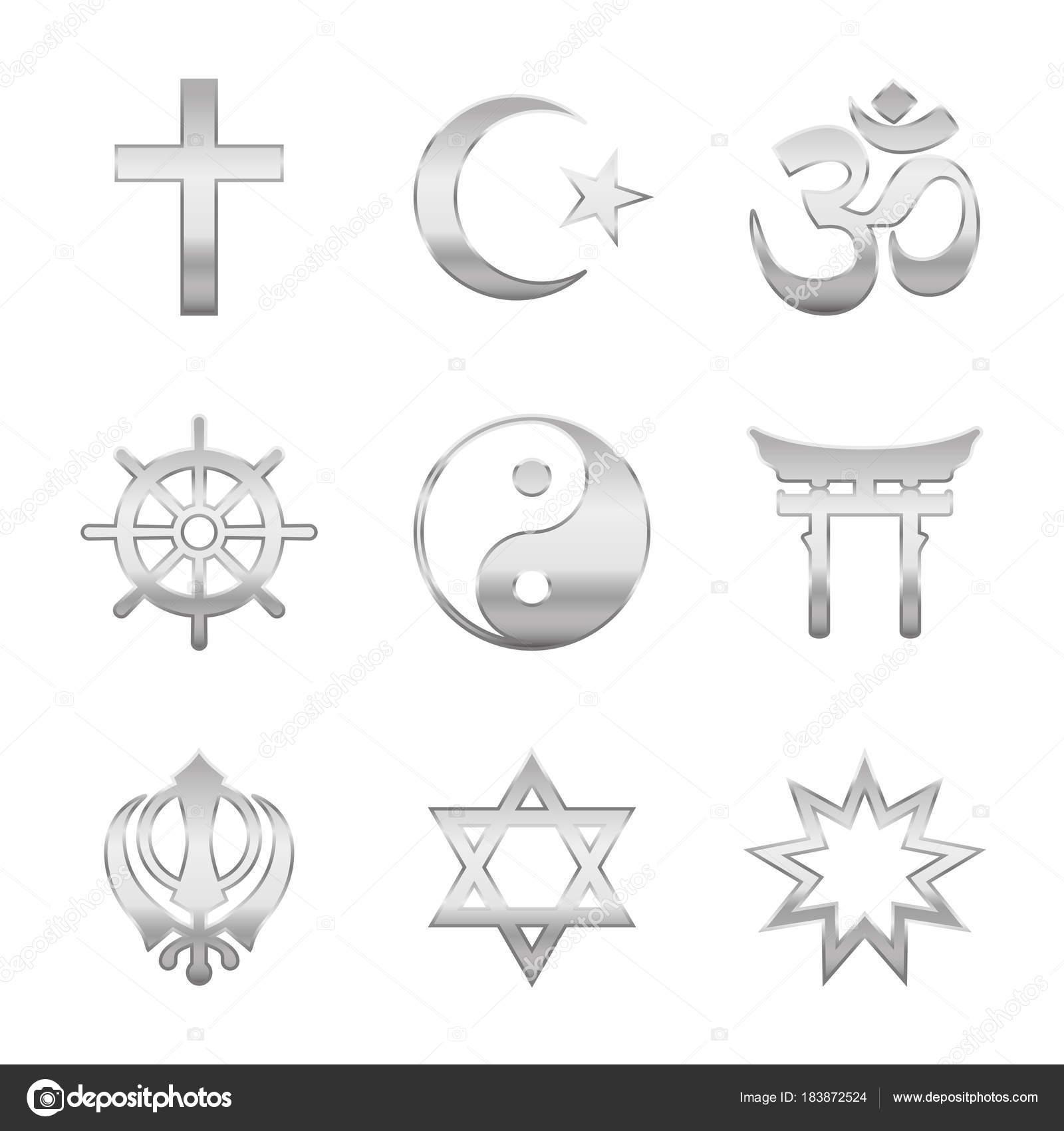 Religious Symbols Silver Stock Vector Furian 183872524