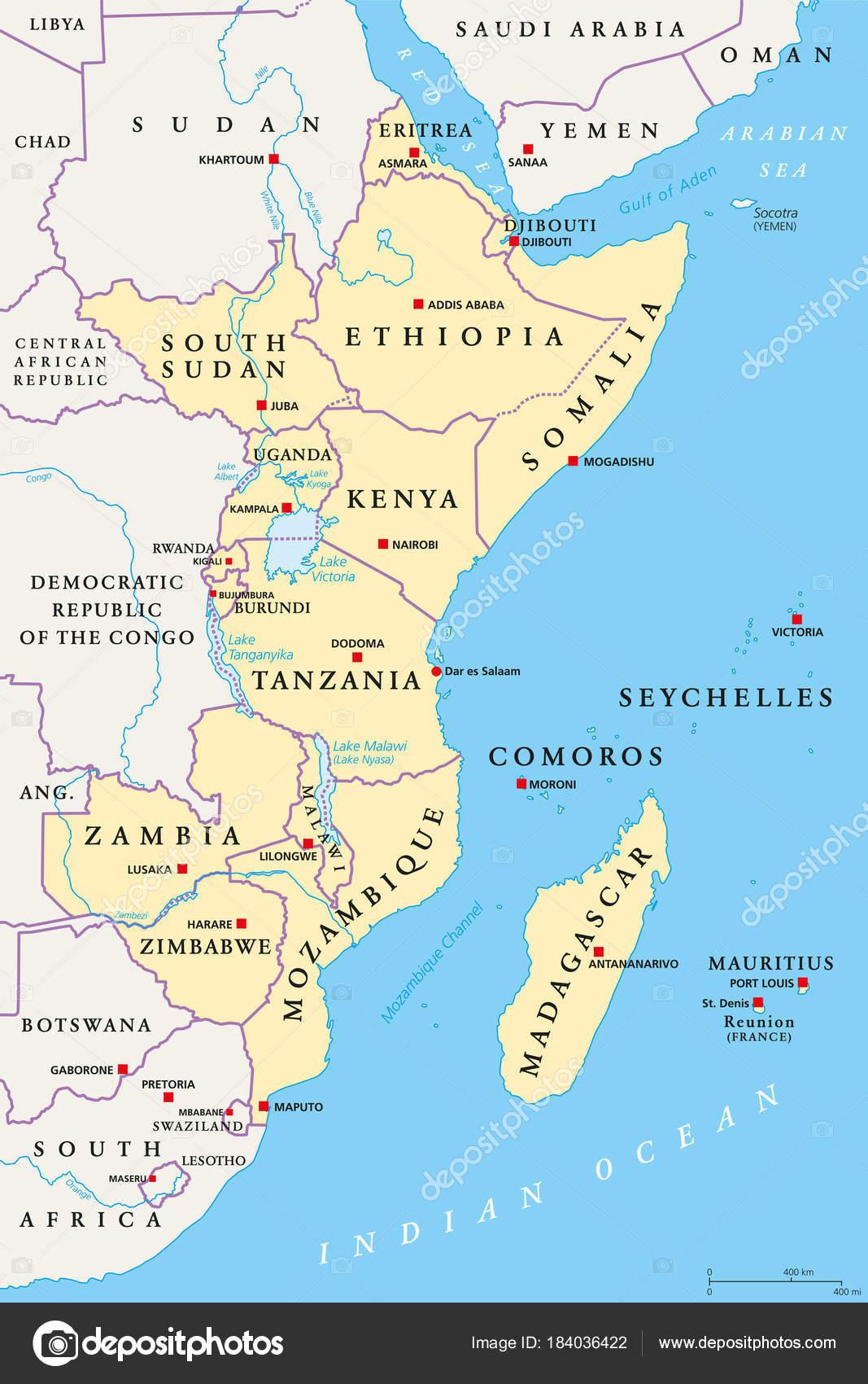 Carte De Lafrique Fleuves.Region De L Afrique Carte Politique Image Vectorielle