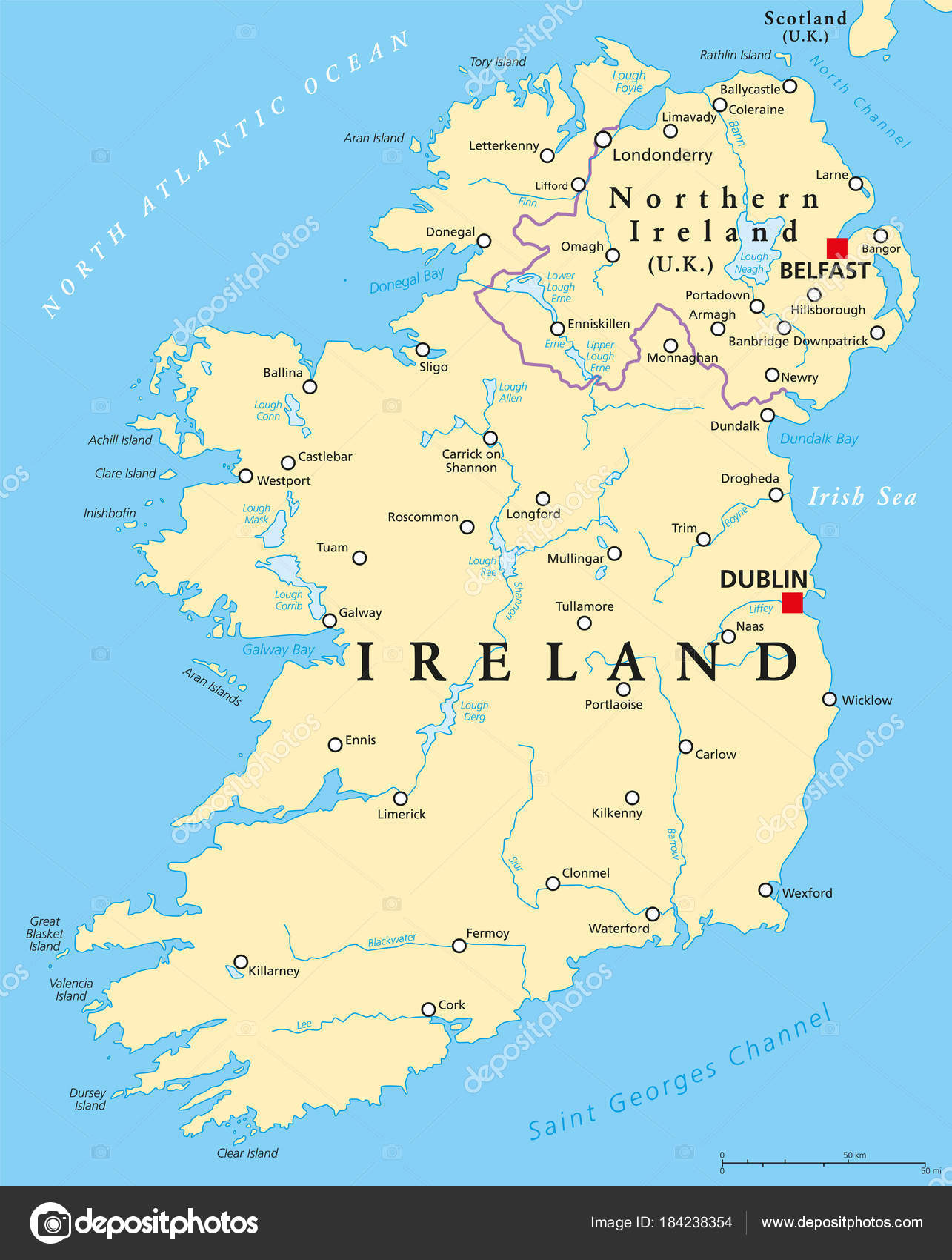 Ireland And Northern Ireland Political Map Stock Vector C Furian