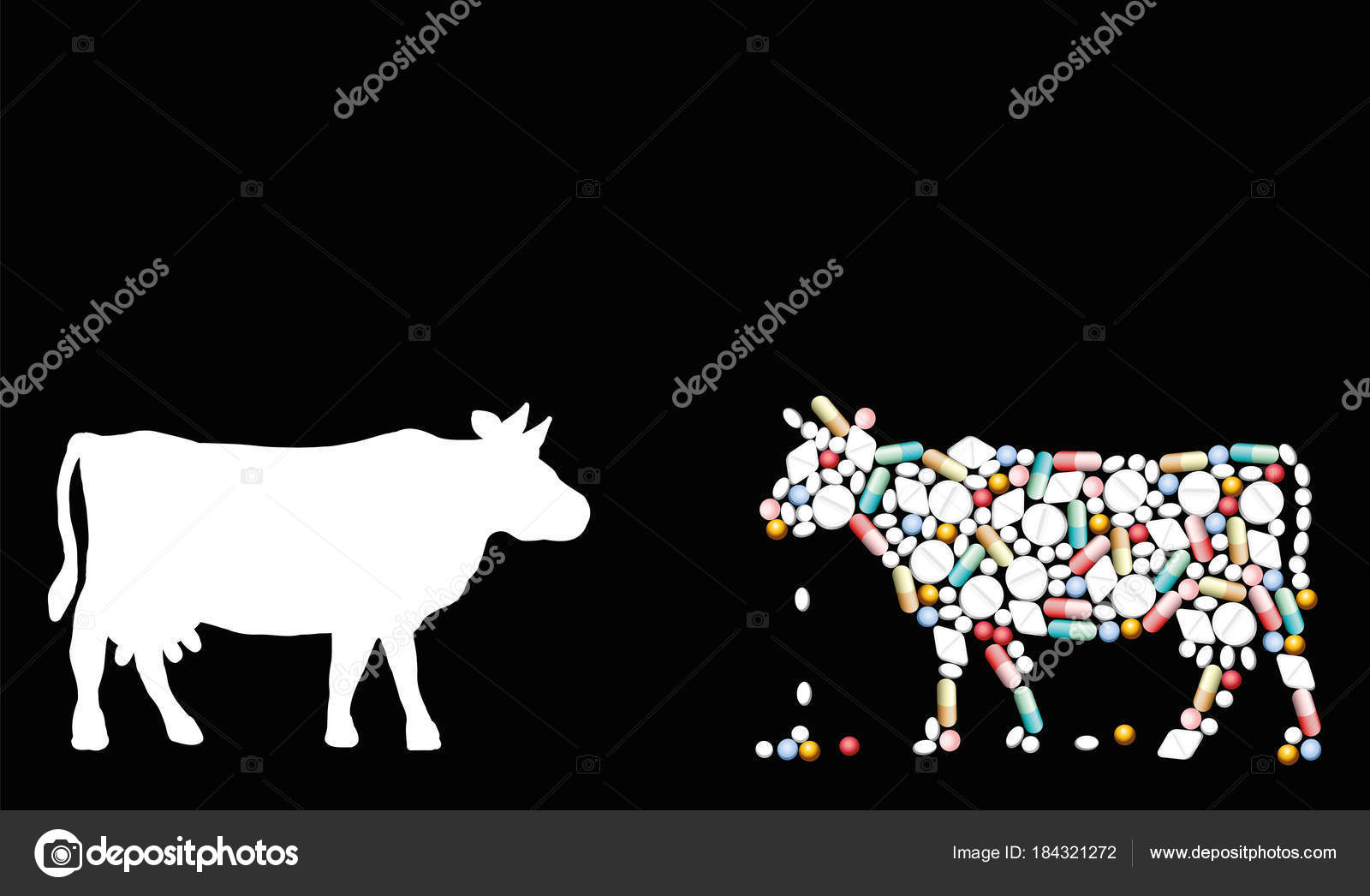 Cow pills pharmaceuticals cattle stock vector furian 184321272 pills that shape a cow symbol for cattle healthcare issues medicine pharmacy antibiotics and diet isolated vector illustration on black background buycottarizona