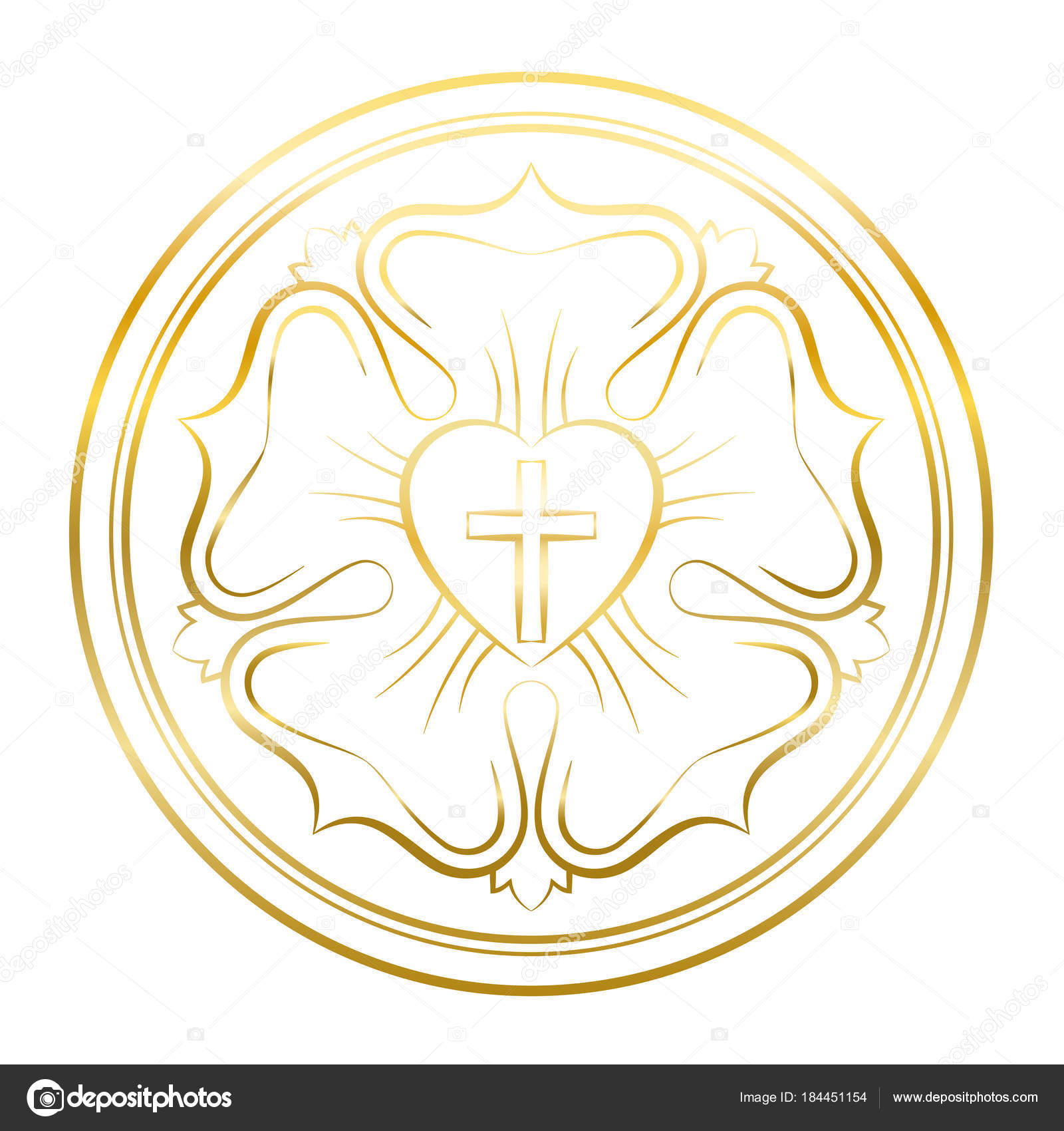 Luther rose symbol golden flower stock vector furian 184451154 luther rose symbol golden illustration on white background martin luther seal symbol of lutheranism consisting of a cross a heart a single rose and a buycottarizona Choice Image