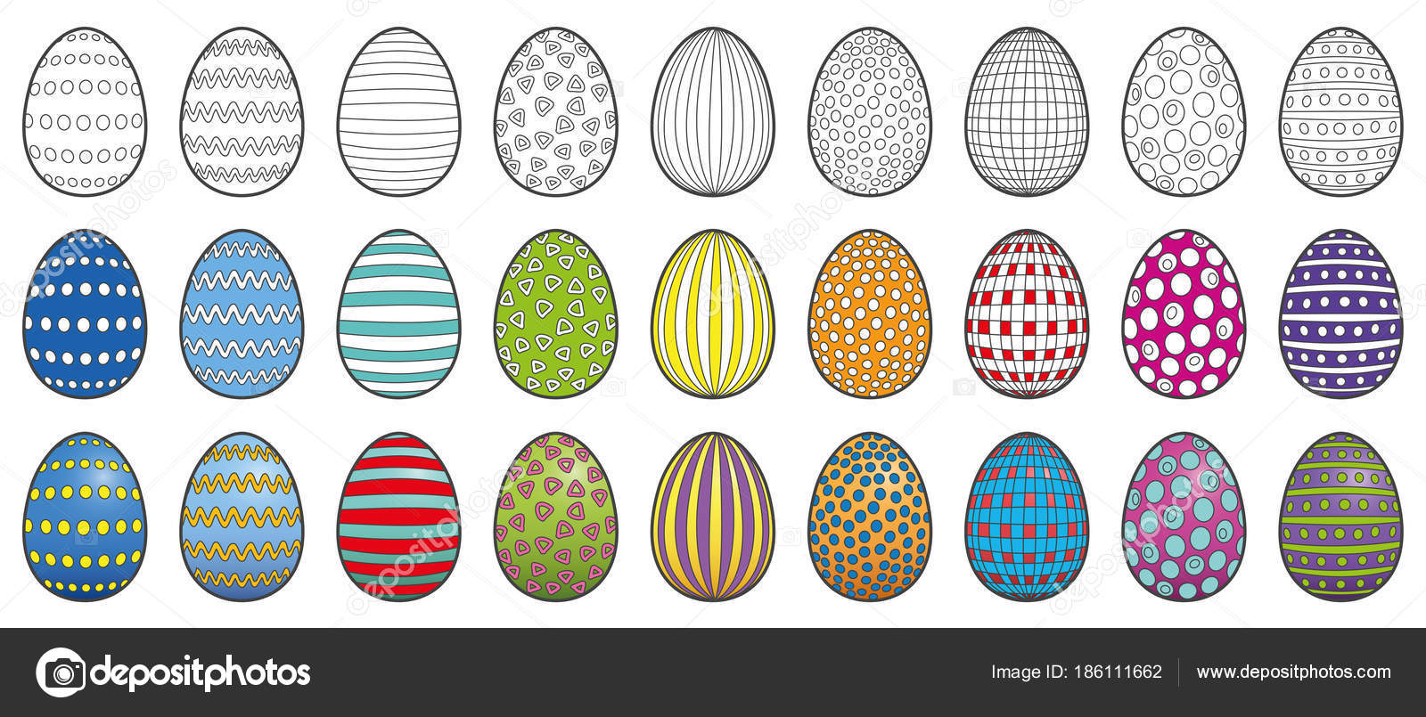 Easter Coloring Picture Colored Eggs Stock Vector C Furian