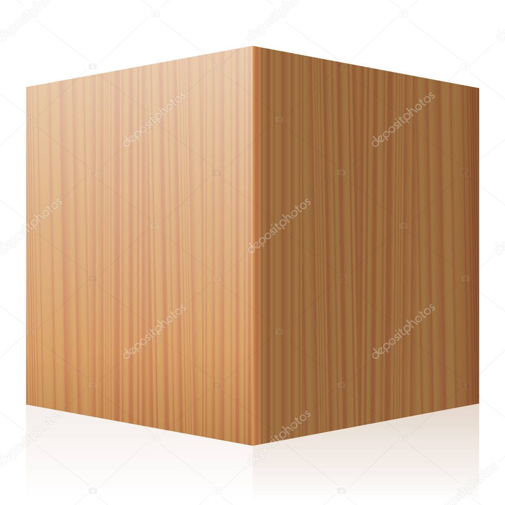 Solid Wooden Cube Perspective