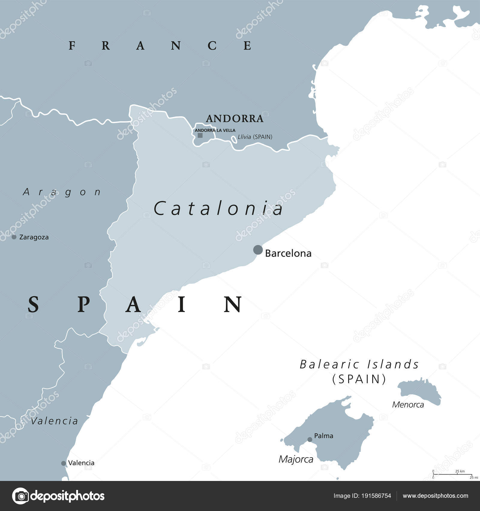 Catalonia Autonomous Community Of Spain Gray Map Stock Vector