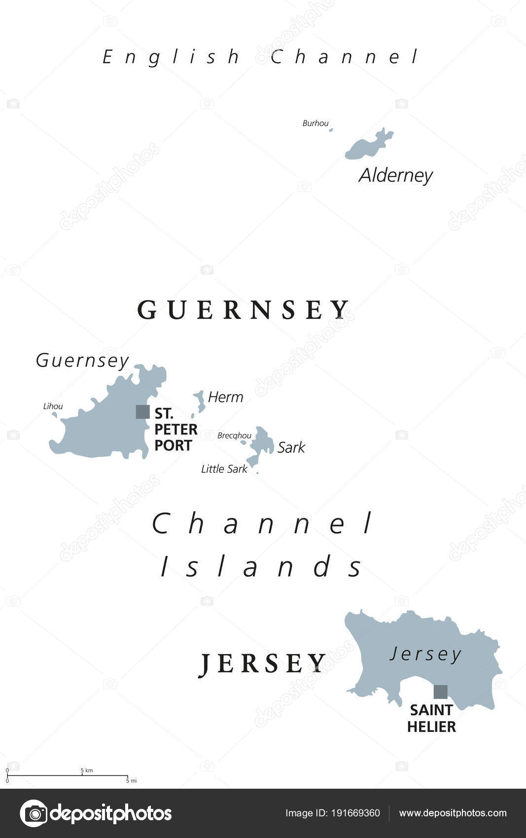 Guernsey and Jersey Channel Islands gray political map Stock