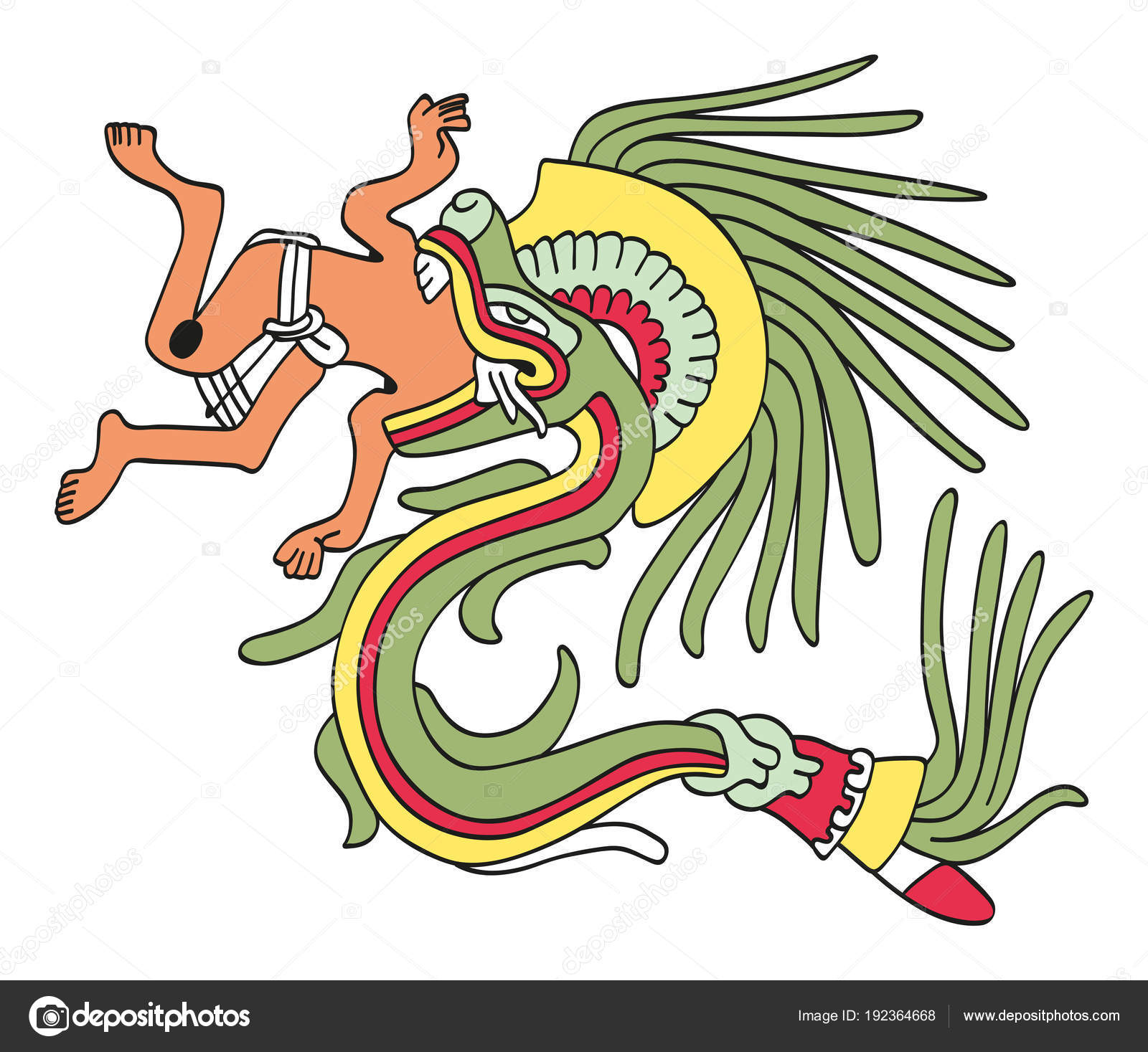 Quetzalcoatl En Forma De Serpiente Emplumada Comer Un Hombre