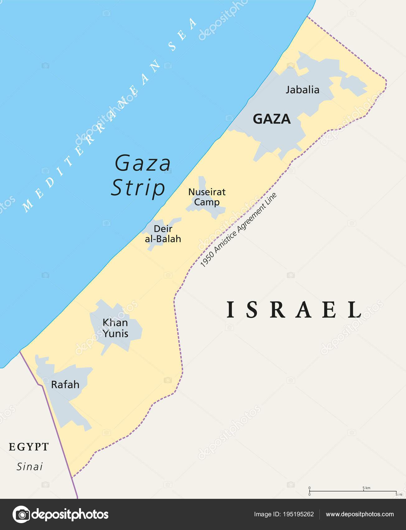 Franja De Gaza Mapa.Vector Gaza Mapa Politico De La Franja De Gaza Vector