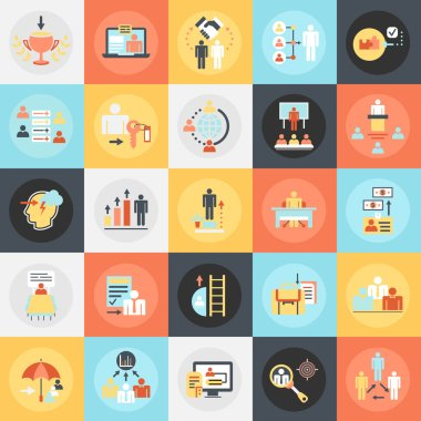 Flat conceptual icons pack of corporate development