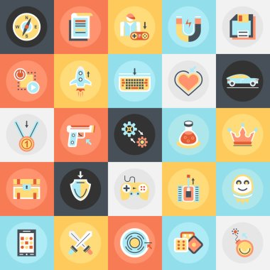 Flat conceptual icons pack of game objects, mobile gaming elements. Concepts for website and graphic design. Mobile and print media. clip art vector