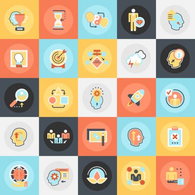 Flat conceptual icons pack of various mental features