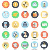 Photo Flat conceptual icon set of banking and money