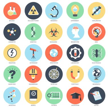 Flat conceptual icon set of research and science