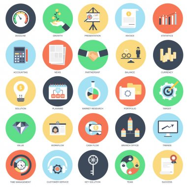 Flat conceptual icon set of business and finance growth