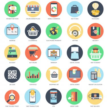Flat conceptual icon set of retail store and online marketplace