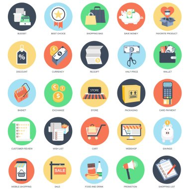 Flat conceptual icon set of e-commerce, internet shopping