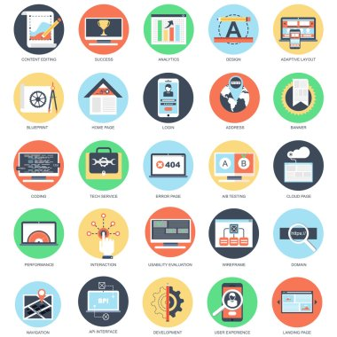 Flat conceptual icon set of web design