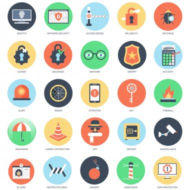 Flat conceptual icon set of web security